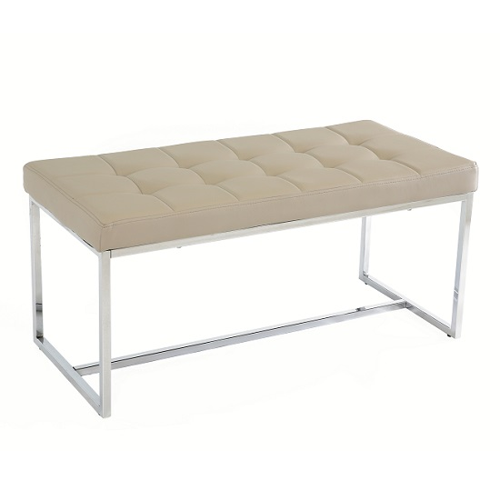 Croatia Dining Bench In Mink PU Leather With Chrome Legs