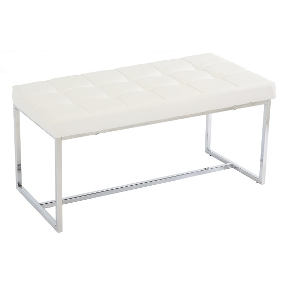 white dining bench. Croatia Dining Bench In White PU Leather With Chrome Legs