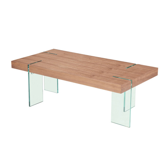 Newark Wooden Coffee Table With Bent Glass Legs