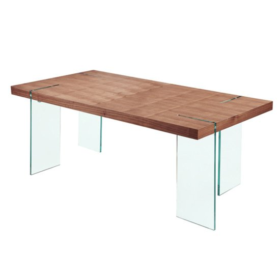 Newark Wooden Dining Table With Bent Glass Legs