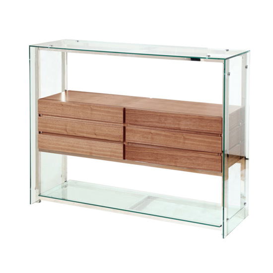 Newark Glass Display Unit With Walnut Drawers