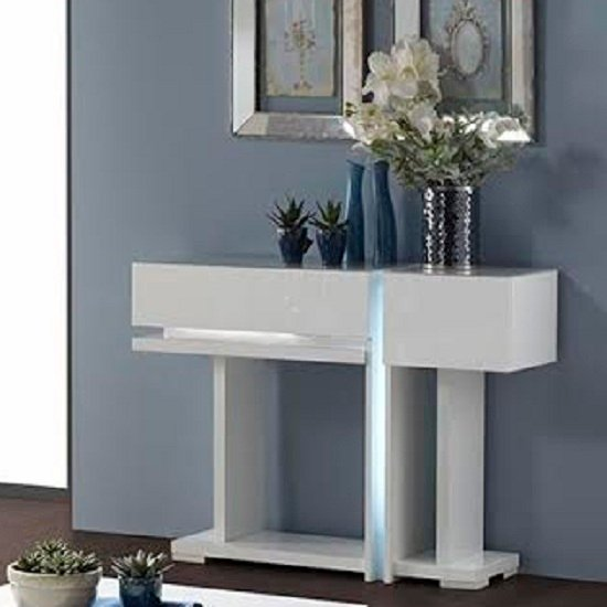 Nicoli Console Table In White High Gloss With 2 Drawers 2326