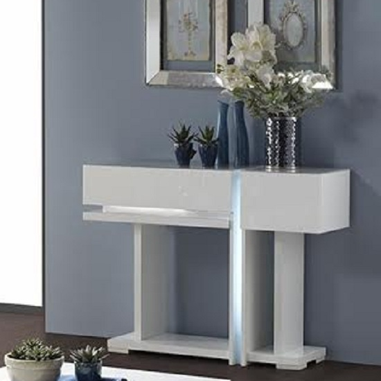 Nicoli Console Table In White High Gloss With 2 Drawers 2326 : NicoliConsT Alb from www.furnitureinfashion.net size 550 x 550 jpeg 34kB