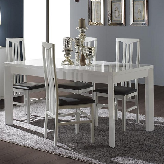 Nicoli Dining Table In White High Gloss Only