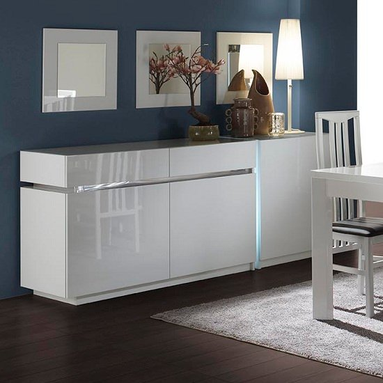 Verona Extendable High Gloss Coffee Table In White 21025: Nicoli Display Cabinet In White High Gloss With 3 Doors 2327