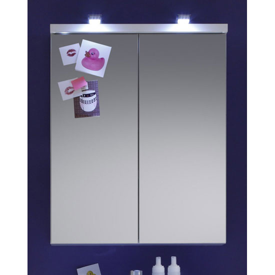 Nightlife Wall Mounted Mirror Cabinet In White With Lighting