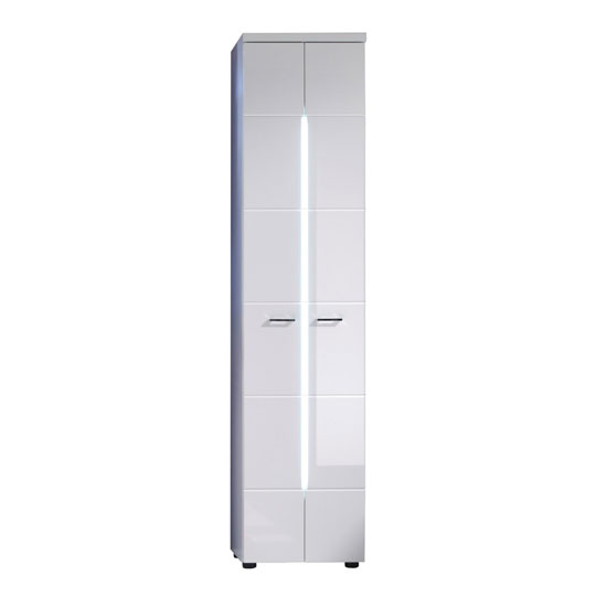 Nightlife Bathroom Cupboard In White With Gloss Fronts And LED