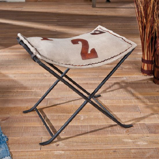 Numerati Folding Stool In Canvas And Brown Leather