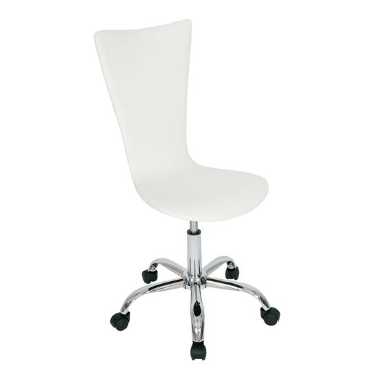 'Curved White Faux Leather Office Chair