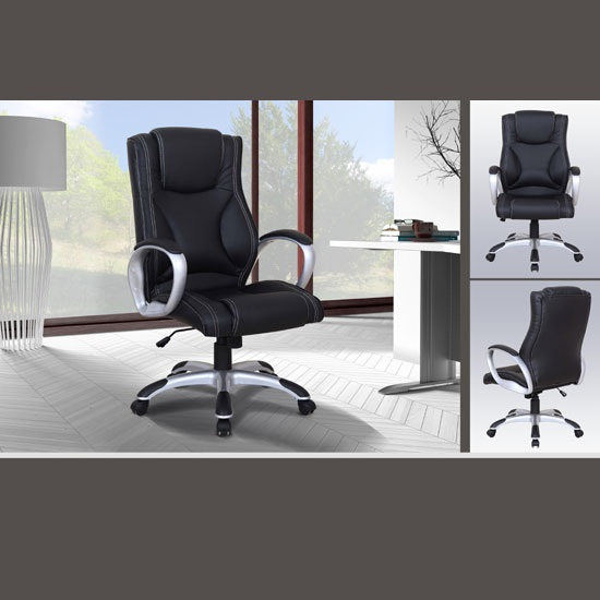 Savoi Modern Home Office Chair In Black Faux Leather