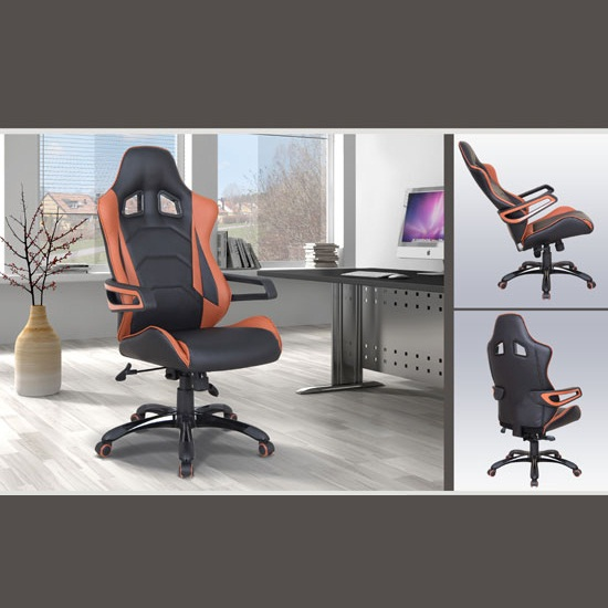 Sandra Modern Home Office Chair In Black And Orange Faux Leather