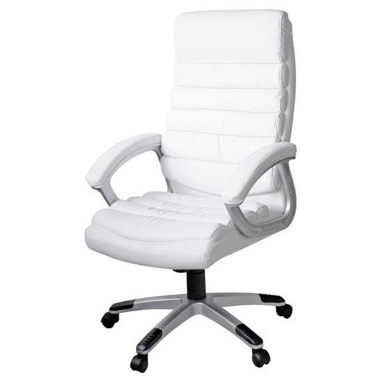 Lex padded office chair in white faux leather with wheels for Desk chair white leather