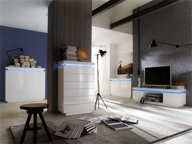 Odessa Sideboard Chest of Drawers in High Gloss White With LED_5
