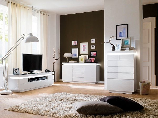 Odessa Sideboard Chest of Drawers in High Gloss White With LED_7