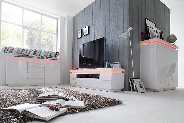 Odessa Sideboard 4 Drawer in High Gloss White With LED Lights_8