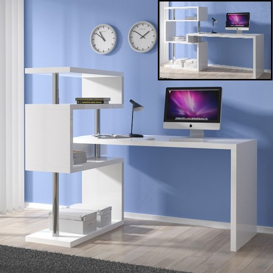 Miami Computer Desk Rotating In White Gloss With Shelving Unit