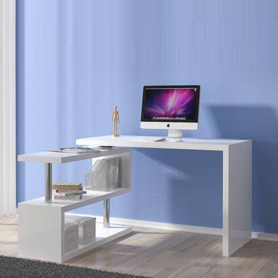 Miami Computer Desk Rotating In White High Gloss 24020