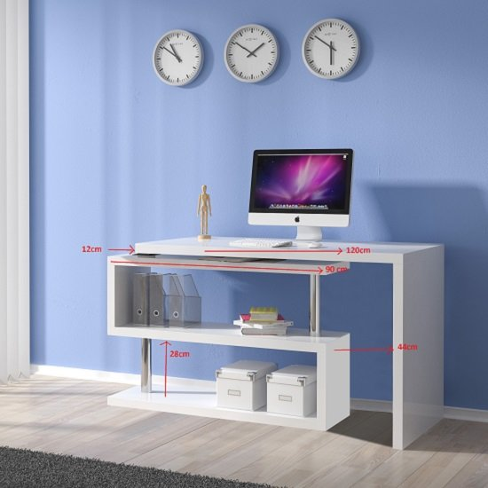 Miami Computer Desk Rotating In White High Gloss 24020