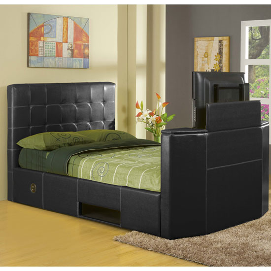 Olympia TV Bed in Black Faux Leather Kingsize