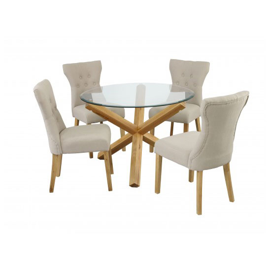 Optro Solid Oak Glass Top Dining Table With 4 Dining Chairs