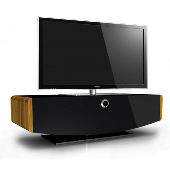 Oriona LCD TV Stand In Black Glass Fronts With Changeable Trim