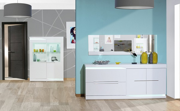 Merida Sideboard In White High Gloss With 2 Doors And LED_4