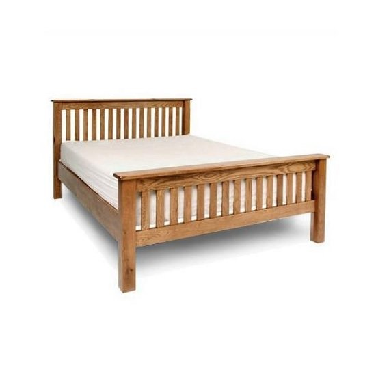 Chalet Wooden King Size Bed In Solid Rustic Oak