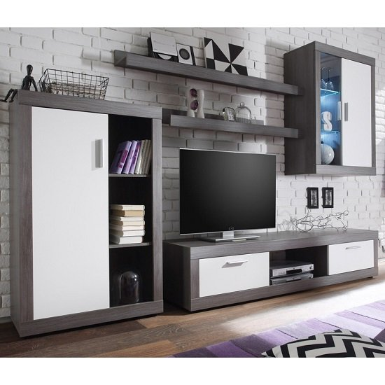 Read more about Essen living room set 2 in smoke silver white fronts with led