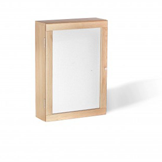 Pacific Bathroom Mirrored Wall Cabinet In Solid Oak With 1 Door