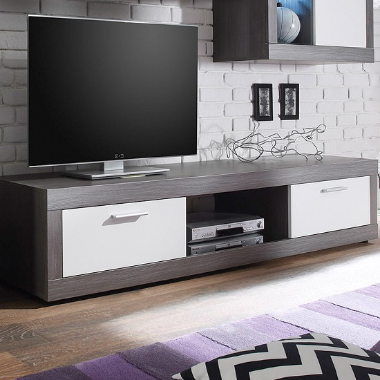 Essen Living Room Set 2 In Smoke Silver White Fronts With LED_4
