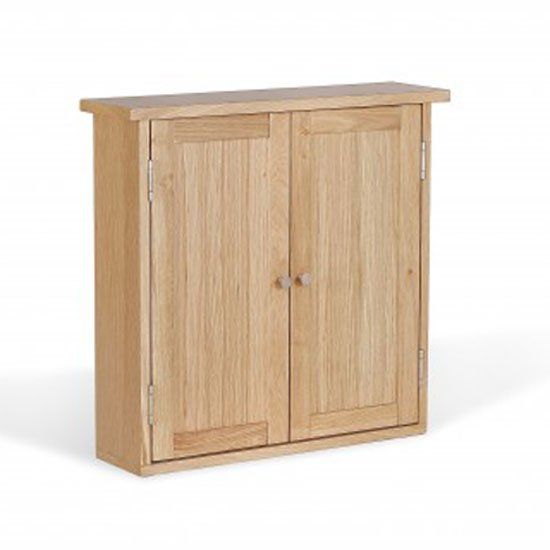 Pacific Bathroom Wall Cabinet In Solid Oak With 2 Doors