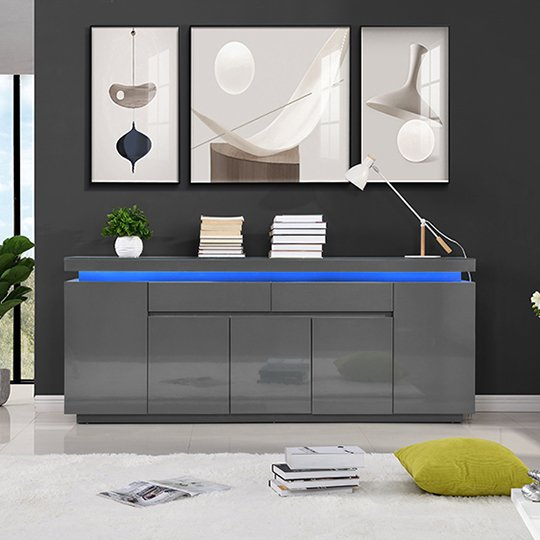Odessa Large Sideboard 2 Drawer 5 Door Gloss Grey With LED_2