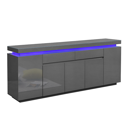 Odessa Large Sideboard 2 Drawer 5 Door Gloss Grey With LED_3