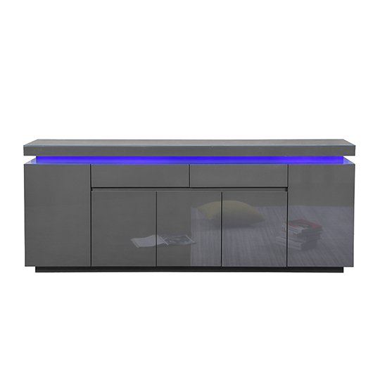 Odessa Large Sideboard 2 Drawer 5 Door Gloss Grey With LED_4