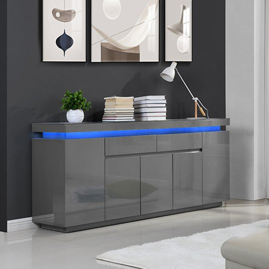 Odessa Large Sideboard 2 Drawer 5 Door Gloss Grey With LED_1