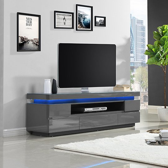 Odessa 5 Drawer Lowboard Tv Stand In High Gloss Grey With LED