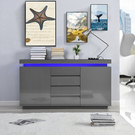 Odessa Sideboard 4 Drawer In High Gloss Grey With LED Lights_2
