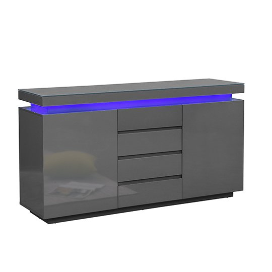 Odessa Sideboard 4 Drawer In High Gloss Grey With LED Lights_3