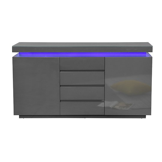Odessa Sideboard 4 Drawer In High Gloss Grey With LED Lights_4