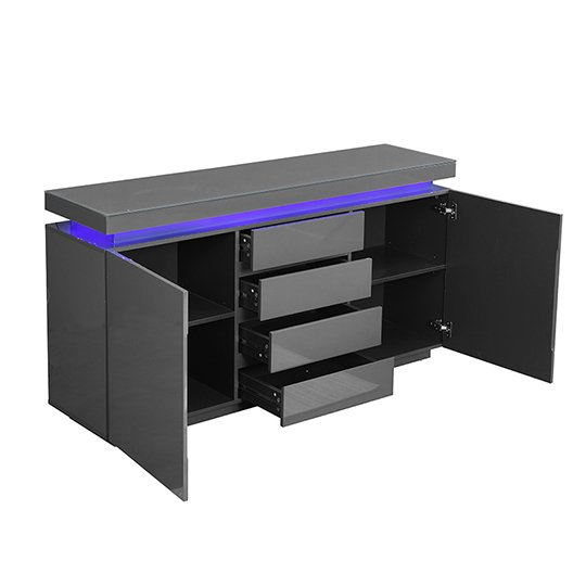 Odessa Sideboard 4 Drawer In High Gloss Grey With LED Lights_5