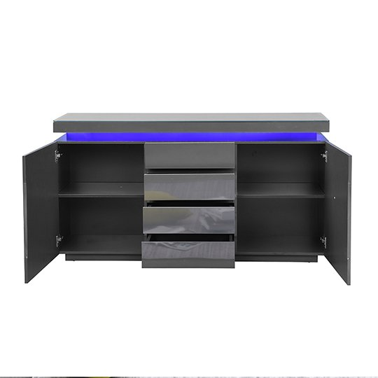 Odessa Sideboard 4 Drawer In High Gloss Grey With LED Lights_6