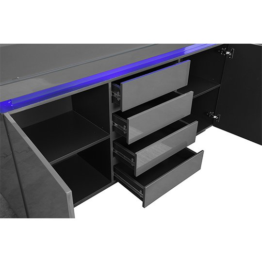 Odessa Sideboard 4 Drawer In High Gloss Grey With LED Lights_7