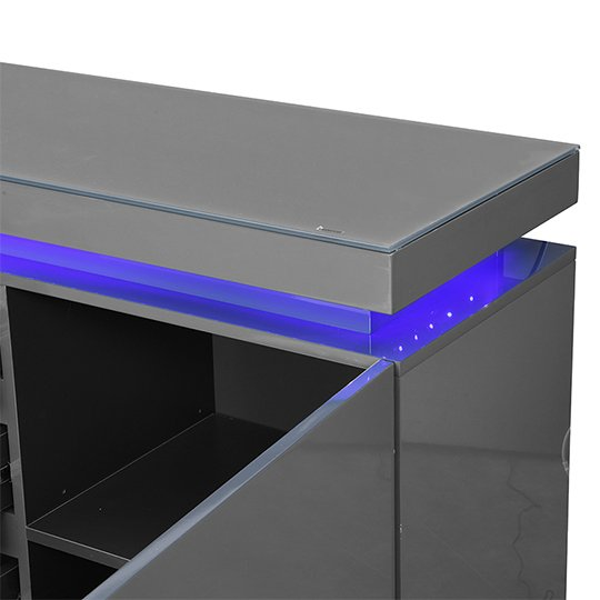 Odessa Sideboard 4 Drawer In High Gloss Grey With LED Lights_8