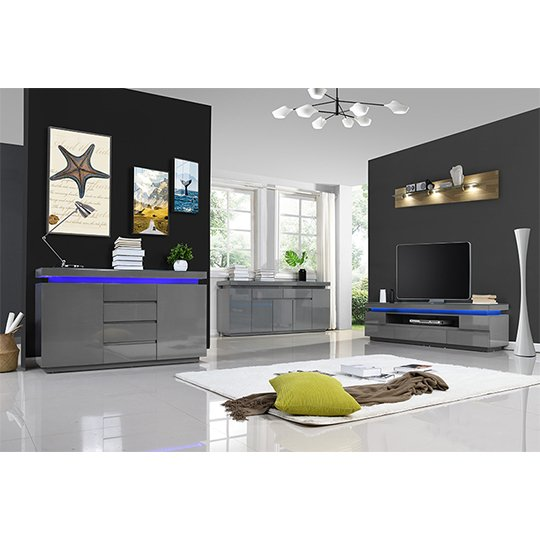 Odessa Sideboard 4 Drawer In High Gloss Grey With LED Lights_9