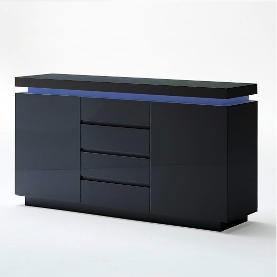 Odessa Sideboard 4 Drawer In High Gloss Black With Led