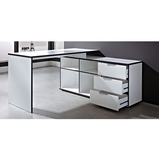 Arctic Home Office Corner Computer Desk In White_7