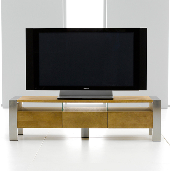 Louis Metal Amp Solid Oak TV Entertainment Stand 13170