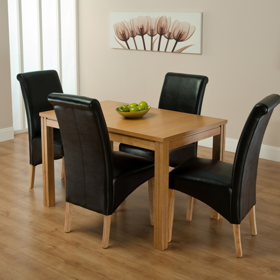 Ohio Dining Table And 4 Black Chairs