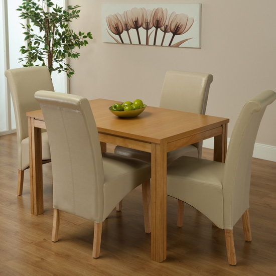 Ohio Dining Table And 4 Ivory Chairs