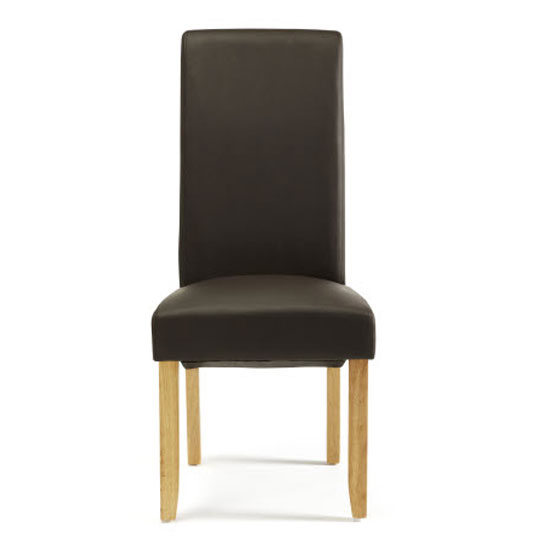 Ameera Dining Chair In Brown Faux Leather And Oak in A Pair_2